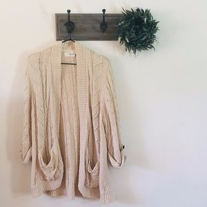 Sparrow Cream Cable Knit Long Cardigan Sweater M